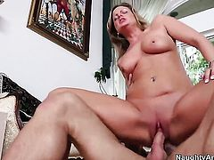 Becca Blossoms with big ass and trimmed pussy cant resist Alan Staffords stiff dick