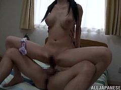 Voracious black-haired wench bounces on erected prick in a reverse cowgirl pose while blowing other