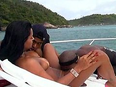 Sizzling brunette called Pantera is enjoying interracial MMF sex on a yacht. She sucks two BBCs devotedly and lets the guys fuck her pussy and butt at the same time.
