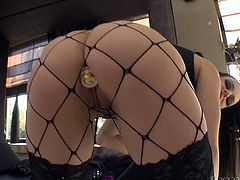 Long and black haired stacked filth with big button applied massive sex toy and thrusted it into her thirsting anus from behind. Just watch that steamy solo in Fame Digital porn clip!