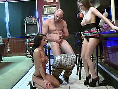 Make sure you don't miss these horny chicks showing off some pretty amazing skills. The movie is titled Money Talks and you will be seeing a a nice threesome at the bar.