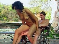 Hot ebony cutie Courtney Devine gets button fucked in reverse cowgirl pose on bench