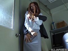 A very sexy Asian girl with long hair, petite natural tits and a hot body enjoys a hardcore, doggy style fuck in her office. Hear her moan with pleasure now!