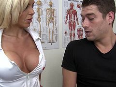 What are you waiting for? Watch this blonde pornstar, with giant fake tits wearing her nurse uniform, while she gets badly screwed by a kinky boy.