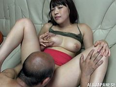 Well-endowed Japanese cutie is having a nice time with an older man indoors. She lets the guy lick her big natural tits, then takes his weiner in her twat and enjoys a raunchy moment.