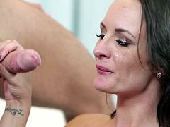 Horny raven with staggering boobs loves having her cramped fanny drilled in rough manners by hunk with huge dong