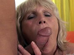 Light haired voracious whore with old pussy stands on knees and enjoys sweet penis of that guy deep throat. Look at that dirty and old cock sucker in Fame Digital porn video!