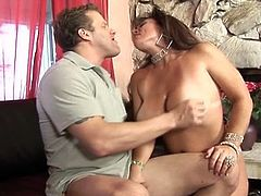 Don't you dare blink or else you'll miss this monster juggs brunette momma in her incredible sweet pussy pounding fuck.