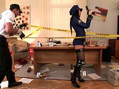 Sexy Brunette Gets Pounded In Her Police Officer Uniform