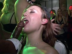 Check out this great party scene where these horny babes suck and fuck strippers as the music plays in the background.