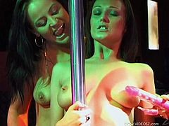Watch these two smoking hot babes having some lesbian fun while dancing on a stripper pole in this hot clip I'm sure you'll like.