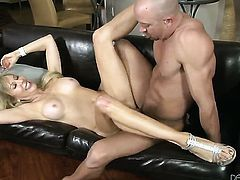 Erica Lauren takes Will Powerss cum loaded meat pole in her hot mouth after backdoor sex