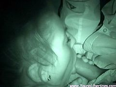 Nightvision POV video of a sexy amateur girl giving her man some amazing head late at night as they relax in bed before sleeping.