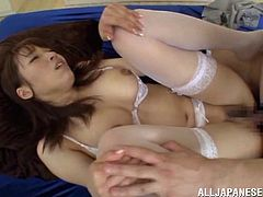 Get a load of this hardcore scene where the beautiful Meisa Chibana wears sensual lingerie while being masturbated and fucked by a horny guy.