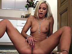 Get a load of this amazing solo scene where the gorgeous blonde Dido Angel fingers her pink shaved pussy and masturbating with a vibrator.