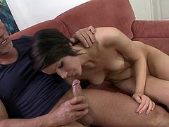 Young doll sure loves sucking on a senior cock in advance to having it deep down her wet and juicy cunt