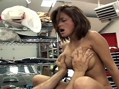 Voracious brunette wench has mutual oral sex with man and gets her pussy fucked mish. Then she rides his dick in a cowgirl pose and gets her asshole screwed until dude cums on her tits.