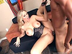 Check out this amazing interracial scene where the busty milf Julia Ann is fucked silly by a large black cock that end up cumming all over her face.