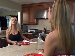 Cali Winters and Holly Halston are long time neighbors. They like to help each other on things just in case of emergency but this time these two got horny at the same time they share their wet clits.