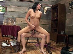 This shapely brunette is the boss when it comes to sex. She sucks her lover's dick passionately to get it hard and ready. When she gets what she wants. She climbs on top of him and fucks him silly in this position. Damn, this cowgirl is unstoppable!