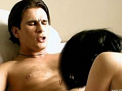Take a look at this hardcore scene where the beautiful brunette Tiffany Hopkins is nailed by this guy's thick cock.