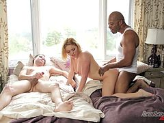 Take a look at this interracial scene where the slutty Krissy Lynn is fucked by a thick black cock in her bed while her man watches.