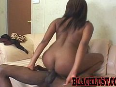 Take a look at this hardcore scene where the sexy ebony babe Candace Von sucks on this guy's thick cock before being fucked silly.