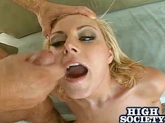 A big breasted blonde chick in a black lingerie gives a blowjob to big cock guy. Then Velicity gets fucked in her tight asshole and a pussy.