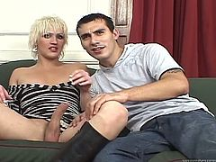 Horny shemale makes her boyfriend suck her juicy dick and play with balls