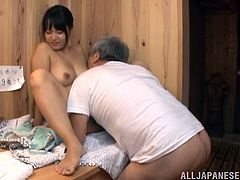 Check this Asian girl, with big jugs and a nice ass, while she goes hardcore with a nasty fellow after playing in a hot tub with some girlfriends.