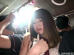 Have a look at this hot public video where this sexy Japanese hottie is fucked in public inside a bus filled with people.