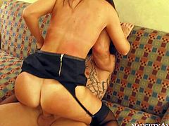 India Summer is a sexy married woman who cant get enough. This long haired slender brunette spends evening fucking with Derrick Pierce. India Summer loves the way he drills her insatiable twat.