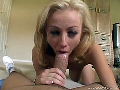 Check out this great POV where the slutty Adrianna Nicole shows off her natural tits before sucking on this guy's thick cock and being drilled by it.
