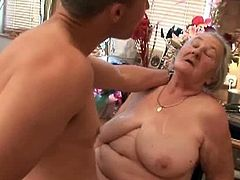 Our partners from Garanny bring you a hell of a free porn video where you can see how this kinky granny gets banged by two young studs while assuming very interesting poses.