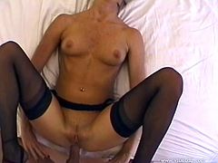 Voracious brunette skank wearing black lace stockings sucks hard dick in POV before getting her clam drilled doggystyle and mish until dude fills her mouth with hot semen.