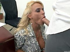 Voracious light-haired secretary provides her cocky boss with nice titfuck before getting her snatch poked doggystyle and mish. Then she sucks hard dick and rides it on top until dude cums in her mouth.