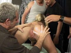 Sizzling hot busty wench gets her moist cunny nailed doggystyle and mish while blowing other dudes' dicks. You can also watch how she bounces on a pecker in a reverse cowgirl pose and gets a load of cum.