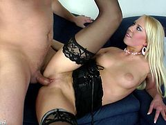 This spoiled chick in sexy black stockings is ready to please a man if it means a wad of cash. Horny dude offers her good money in exchange for sex. She ends up taking him up on the offer. Horny dude fucks her tight pussy in missionary position. Then she rides his hard cock reverse cowgirl style.