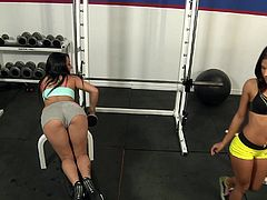 These hot babes get horny in the gym and take care of this lucky guy's big hard cock as they give him the best blowjob he could get.
