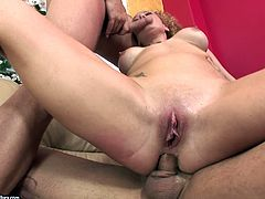 Check out this brutal hardcore scene where the busty Audrey Hollander ends up with a mouthful of semen after being fucked by two guys in a threesome.