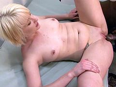 Slim blonde tramp Nora Skyy lets a black dude lick her coochie and armpits. After that they fuck doggy style and in the missionary position.
