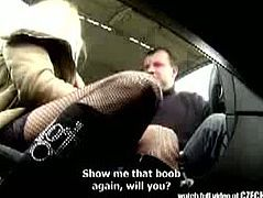 We got to see this adorable blonde Czech prostitute in black stockings offering blowjob for a small amount. Horny male driver upgraded the service for a quick fuck in the truck.