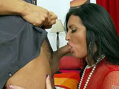 Majestic brunette mommy joyfully shows off her big tits and bubble butt in red see though top. Curvy mom gives steamy blowjob to her Asian boy and gets her sweet shaved cunt licked.