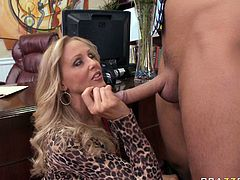 Chesty blonde sexpot Julia Ann sucks Keiran Lee's cock like a pro