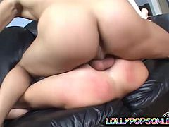 Get a hard dick by watching this blonde babe, with natural breasts and a smooth cunt, while she goes really hardcore with a horny fellow.