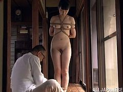 Prepare your cock for this Asian brunette, with natural love pillows wearing panties, while she gets tied up and touched with a toy.
