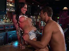 Busty dark-haired sweetie has mutual oral sex with dude before getting her clam screwed mish and doggystyle. Then she rides it in a cowgirl pose and gets a load of cum in her mouth.