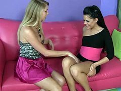 Nasty lesbian babes Brynn Tyler and Madison Parker get incredibly horny licking and fingering their delicious wet holes.