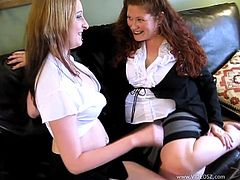 Click to watch these chubby cougar, with natural knockers wearing miniskirts, while they touch each other ardently over a couch until they cum.