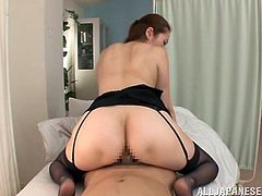 Get a load of this hardcore scene where the horny Asian doctor Asami Ogawa is fucked by a patient as she comes to check on him.